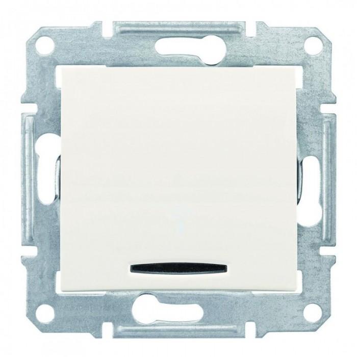 1-клавішний прохідний вимикач Schneider Electric Sedna із підсвічуванням Слонова кістка (SDN1500123)