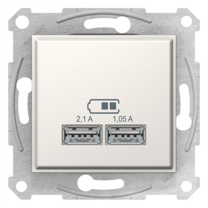 USB-розетка подвійна Schneider Electric Sedna Слонова кістка (SDN2710223)