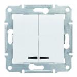 2-клавішний вимикач Schneider Electric Sedna із підсвічуванням Білий (SDN0300321)