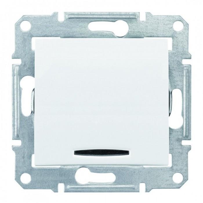 1-клавішний вимикач Schneider Electric Sedna з синім підсвічуванням Білий (SDN1400121)
