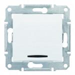 1-клавішний прохідний вимикач Schneider Electric Sedna з синім підсвічуванням Білий (SDN1500121)