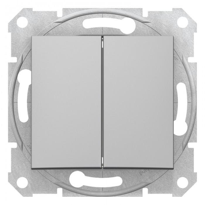2-клавішний вимикач Schneider Electric Sedna Алюміній (SDN0300160)