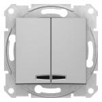 2-клавішний вимикач Schneider Electric Sedna із підсвічуванням Алюміній (SDN0300360)