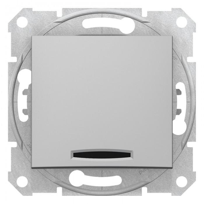 1-клавішний перехресний вимикач Schneider Electric Sedna із підсвічуванням Алюміній (SDN0501160)