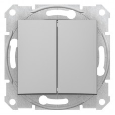 2-клавішний прохідний вимикач Schneider Electric Sedna Алюміній (SDN0600160)