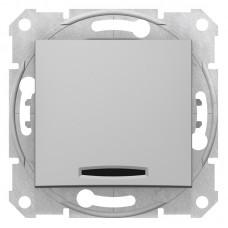 1-клавішний вимикач Schneider Electric Sedna із підсвічуванням Алюміній (SDN1400160)