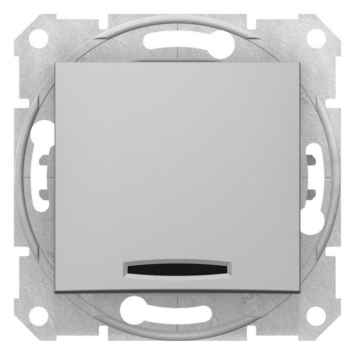 1-клавішний прохідний вимикач Schneider Electric Sedna із підсвічуванням Алюміній (SDN1500160)