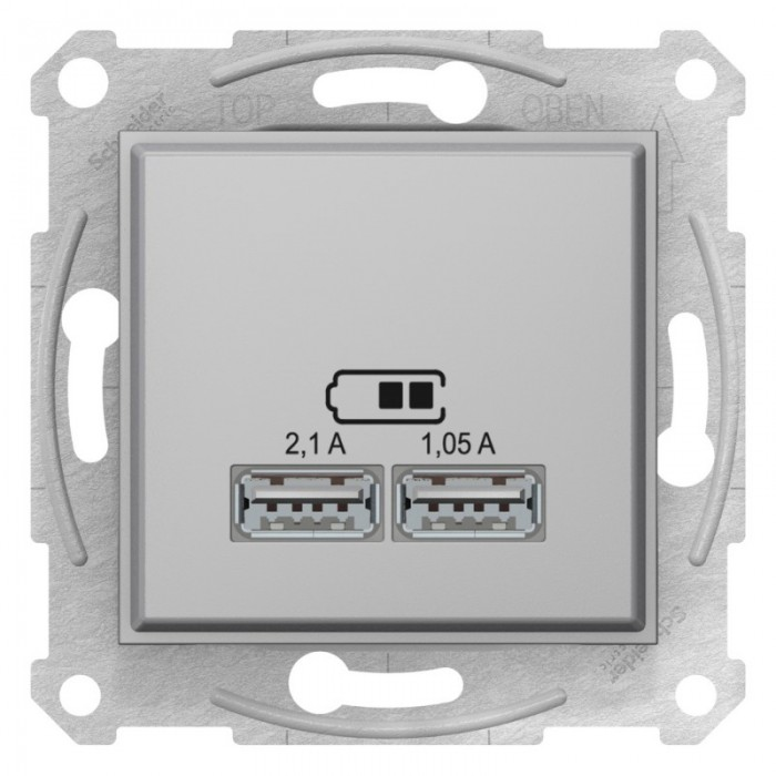 USB-розетка подвійна Schneider Electric Sedna Алюміній (SDN2710260)