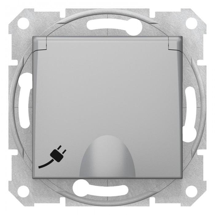 Розетка Schneider Electric Sedna із кришкою та шторками Алюміній (SDN3100160)
