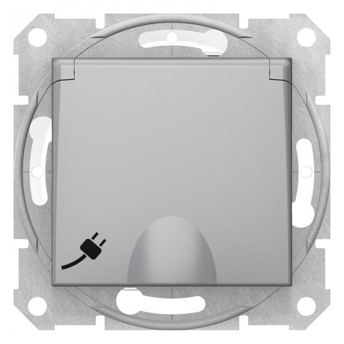 Розетка Schneider Electric Sedna із кришкою та шторками IP44 Алюміній (SDN3100360)