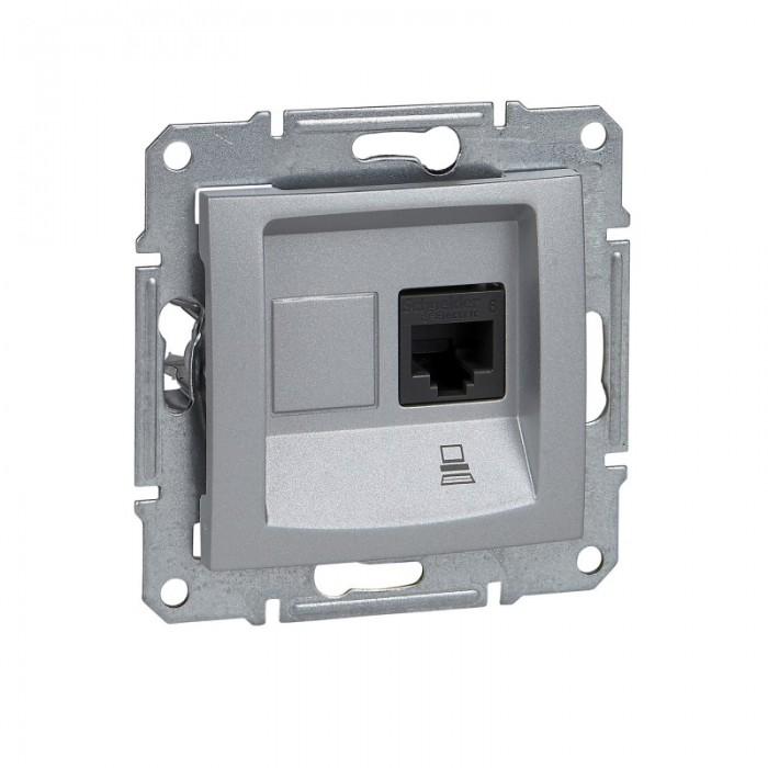 Комп'ютерна розетка кат. 6e Schneider Electric Sedna Алюміній (SDN4700160)
