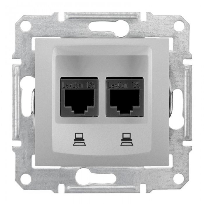Комп'ютерна розетка подвійна кат. 6e Schneider Electric Sedna Алюміній (SDN4800160)