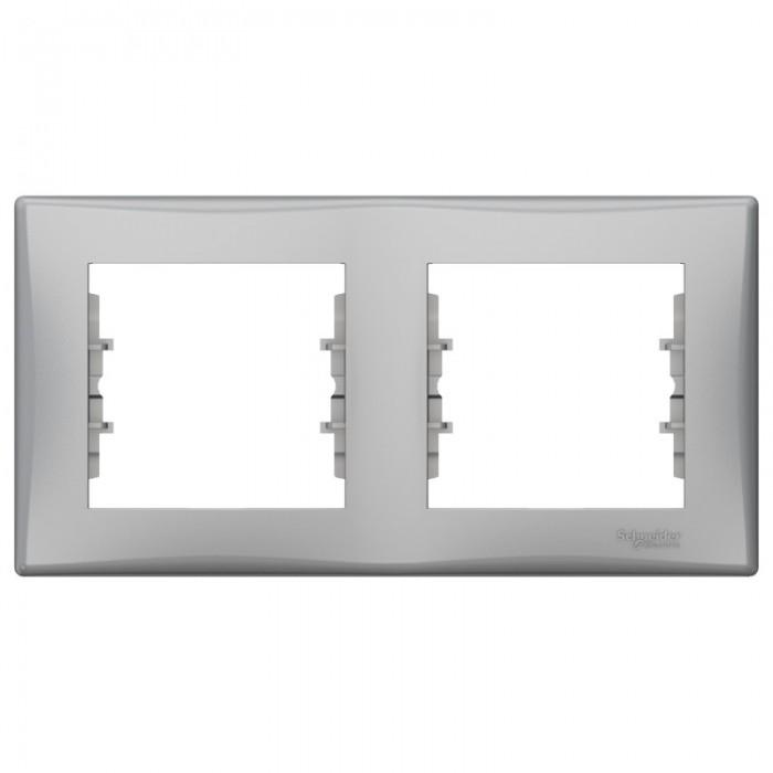 Рамка подвійна Schneider Electric Sedna горизонтальна Алюміній (SDN5800360)