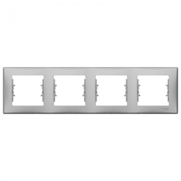 Рамка чотирна Schneider Electric Sedna горизонтальна Алюміній (SDN5800760)