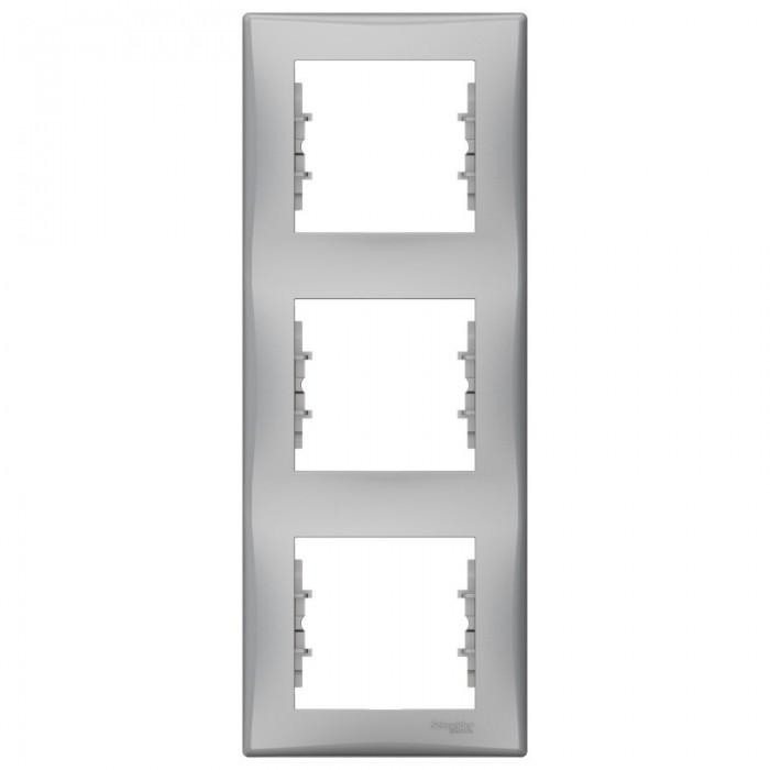 Рамка потрійна Schneider Electric Sedna вертикальна Алюміній (SDN5801360)