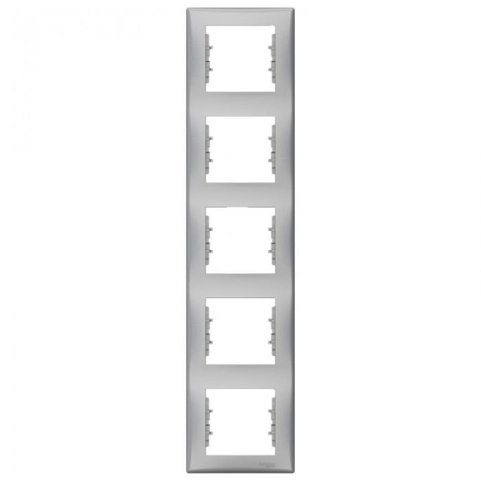 Рамка п`ятірна Schneider Electric Sedna вертикальна Алюміній (SDN5801560)