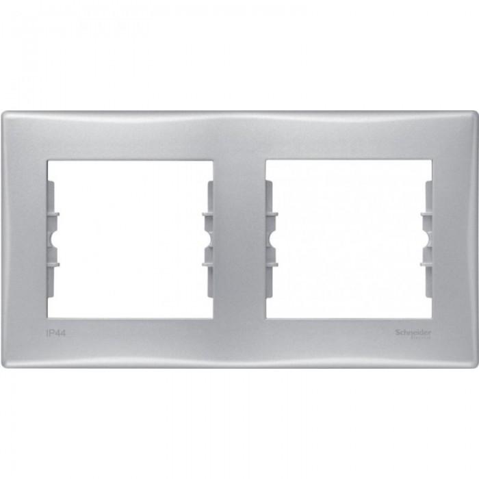 Рамка подвійна Schneider Electric Sedna горизонтальна IP44 Алюміній (SDN5810660)