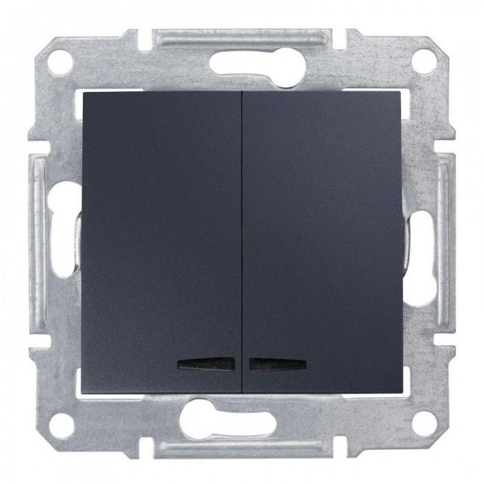2-клавішний вимикач Schneider Electric Sedna із підсвічуванням Графіт (SDN0300370)