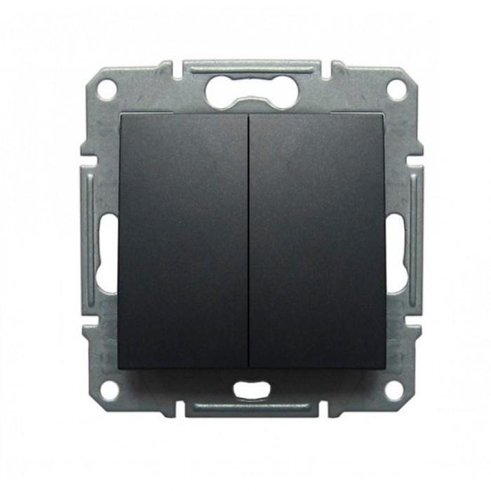 2-клавішний прохідний вимикач Schneider Electric Sedna Графіт (SDN0600170)