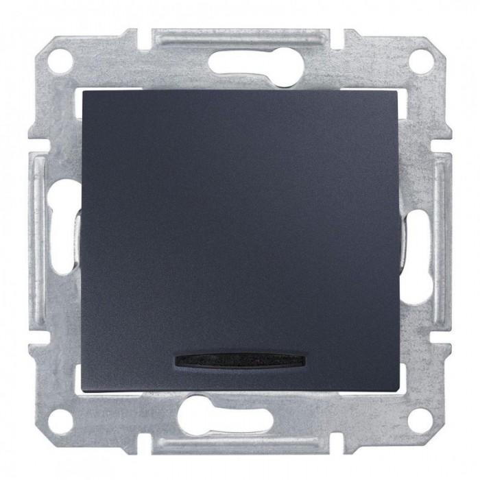 1-клавішний прохідний вимикач Schneider Electric Sedna із підсвічуванням Графіт (SDN1500170)