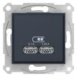 USB-розетка подвійна Schneider Electric Sedna Графіт (SDN2710270)