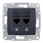 Комп'ютерна розетка подвійна кат. 6e Schneider Electric Sedna Графіт (SDN4800170)