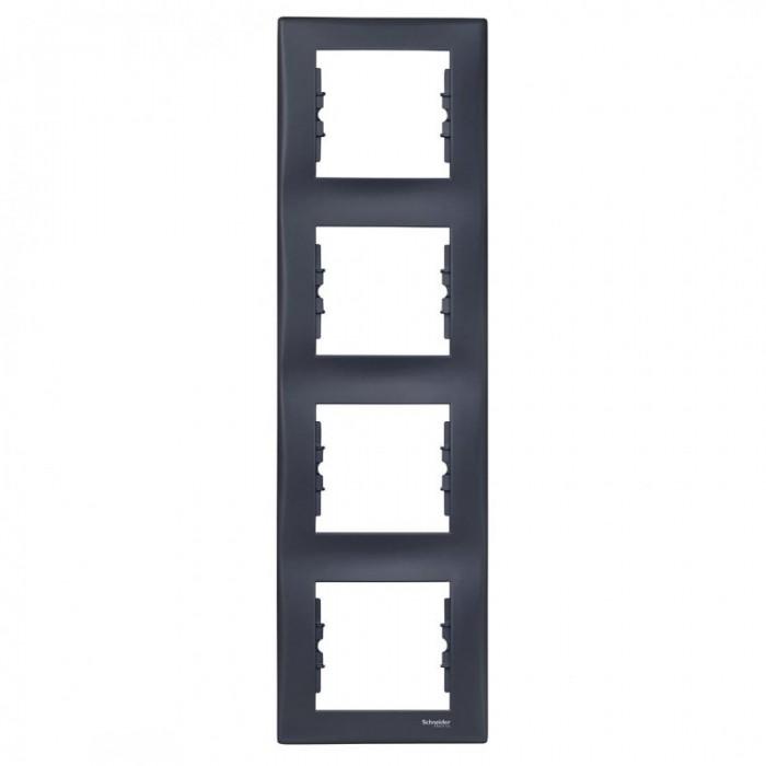 Рамка чотирна Schneider Electric Sedna вертикальна Графіт (SDN5802070)