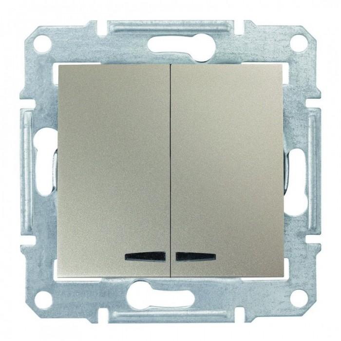 2-клавішний вимикач Schneider Electric Sedna із підсвічуванням Титан (SDN0300368)