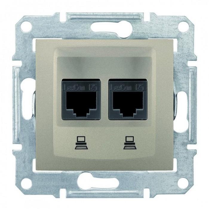 Комп'ютерна розетка подвійна кат. 6e Schneider Electric Sedna Титан (SDN4800168)