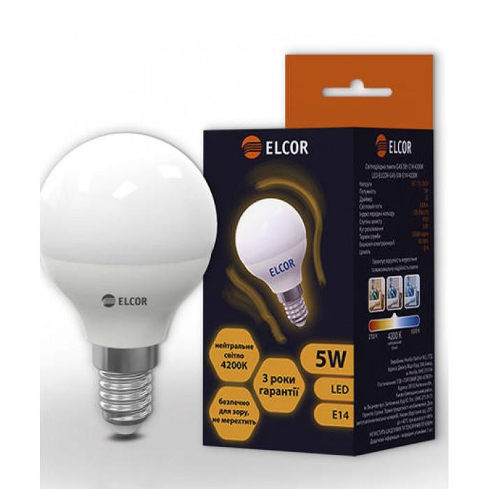 Світлодіодна лампа ELCOR E14 G45 5Вт 4200K (534302)