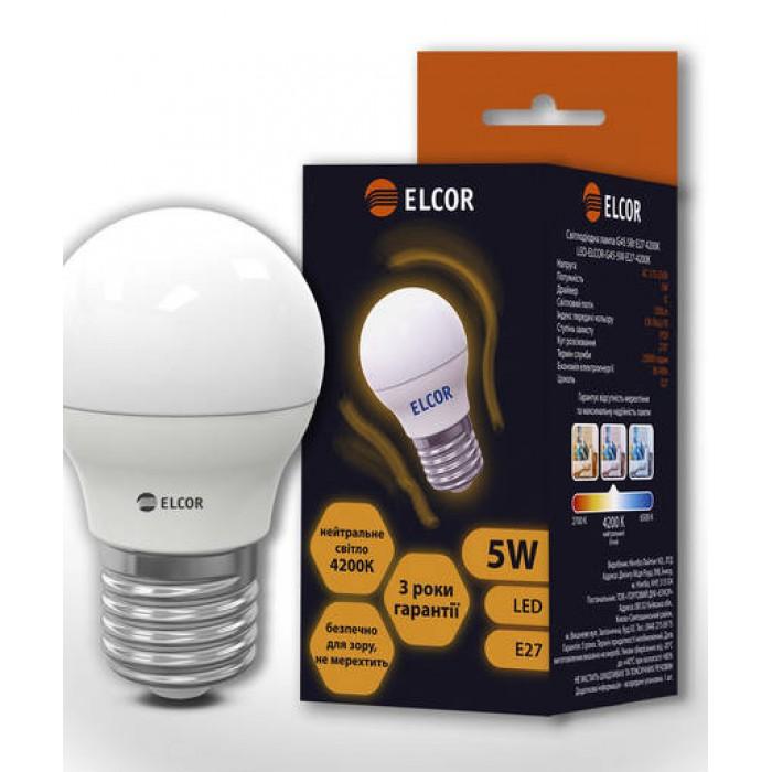 Світлодіодна лампа ELCOR E27 G45 5Вт 4200K (534303)