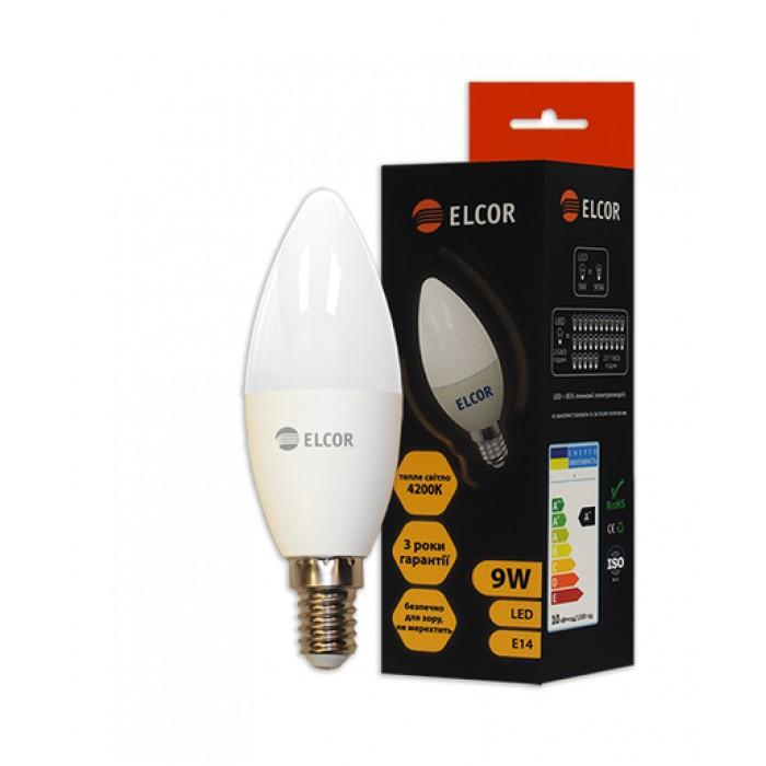 Світлодіодна лампа ELCOR E14 C37 9Вт 4200K (534317)