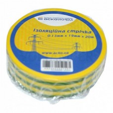 Ізоляційна стрічка АСКО-УкрЕМ 0,13мм 19мм / 20м Жовто-зелений (A0150020009)