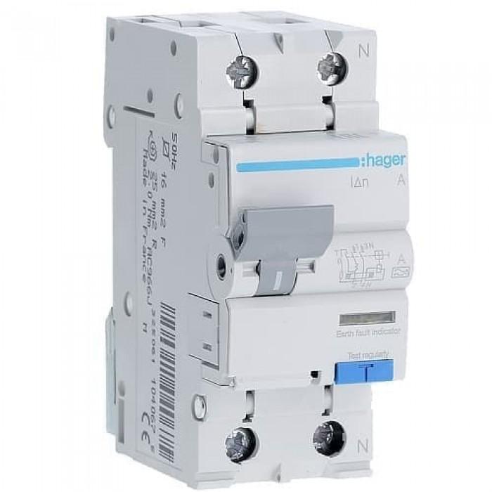 Диференціальний автомат Hager 2p 25 А 30 мА тип С (AD975J)