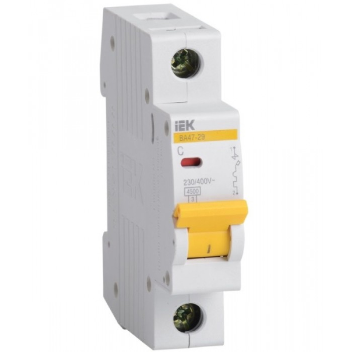Автоматичний вимикач IEK ВА47-29 1P 25 A 4,5кА C (MVA20-1-025-C)
