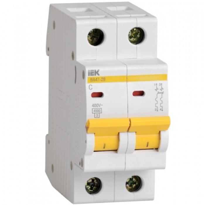 Автоматичний вимикач IEK ВА47-29 2P 25 A 4,5кА C (MVA20-2-025-C)