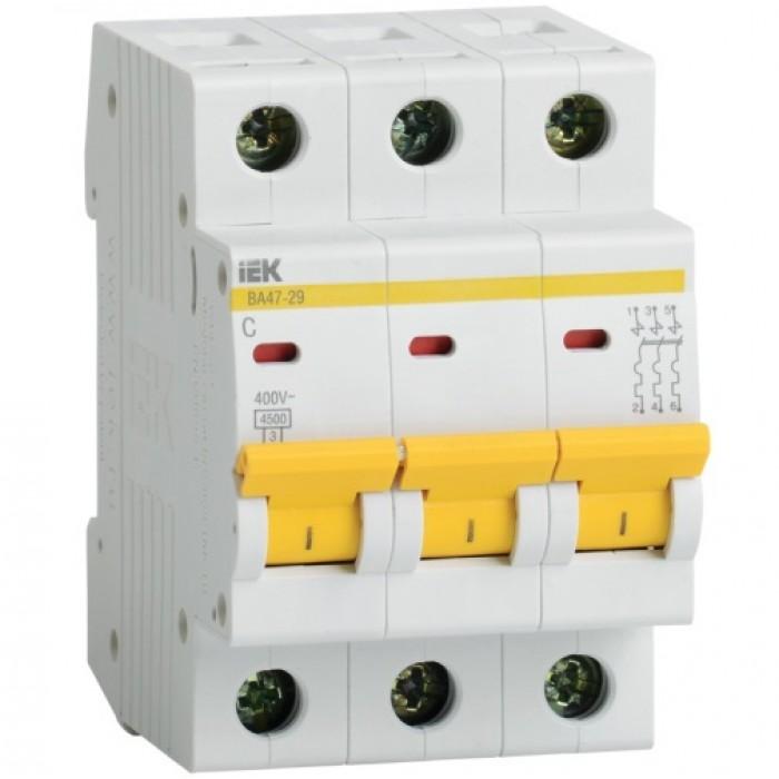 Автоматичний вимикач IEK ВА47-29 3P 63 A 4.5кА C (MVA20-3-063-C)