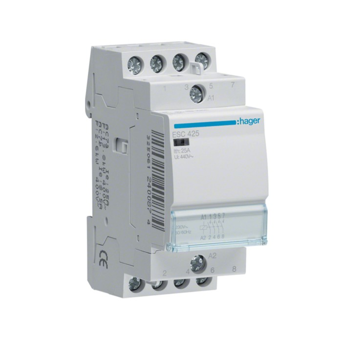 Модульний контактор Hager 230В/25А 4НВ (ESC425)