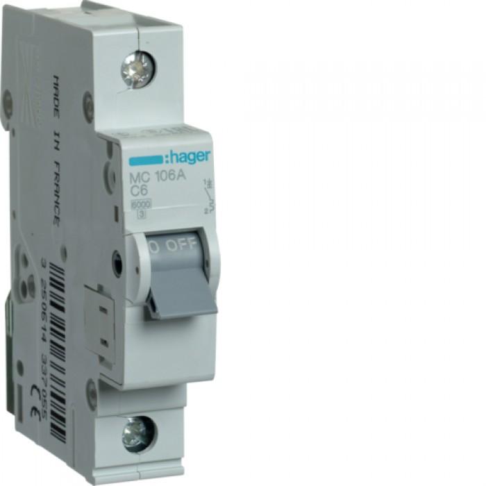 Автоматичний вимикач HAGER 1Р 6 А тип С (MC106A)