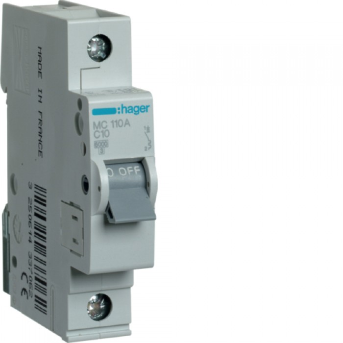 Автоматичний вимикач HAGER 1Р 10 А тип С (MC110A)