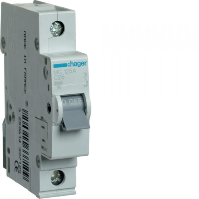 Автоматичний вимикач HAGER 1Р 25 А тип С (MC125A)
