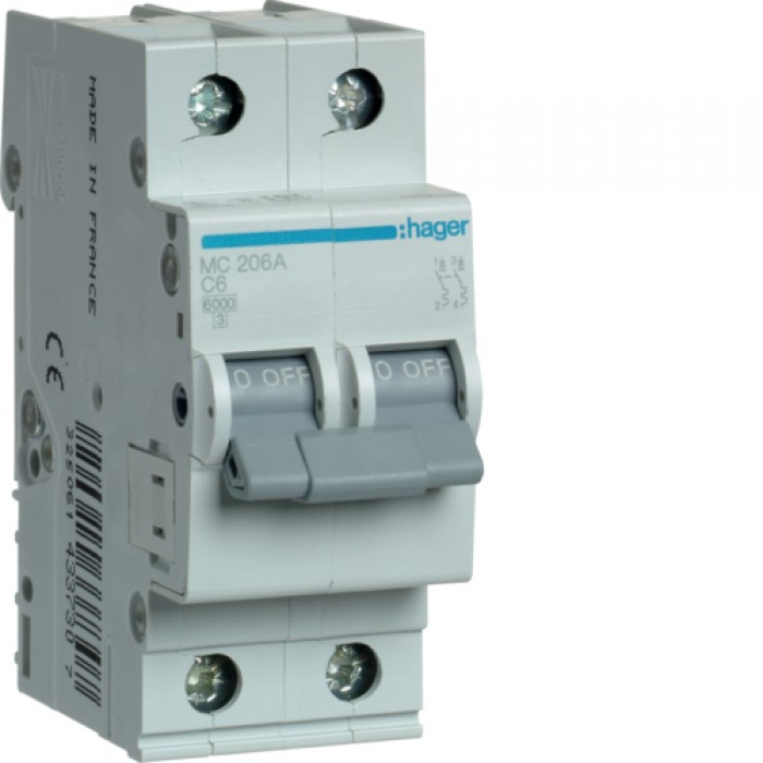 Автоматичний вимикач HAGER 2Р 6 А тип С (MC206A)