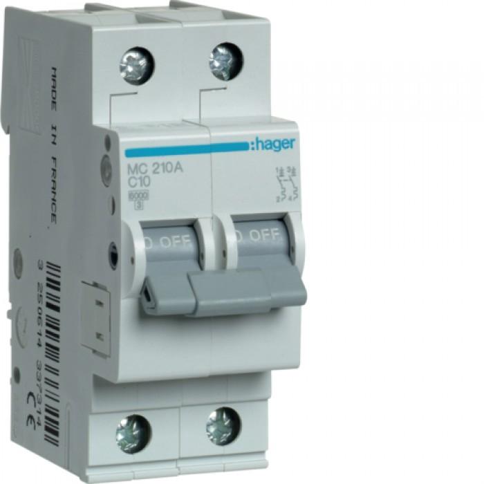 Автоматичний вимикач HAGER 2Р 10 А тип С (MC210A)