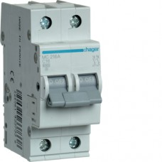 Автоматичний вимикач HAGER 2Р 16 А тип С (MC216A)
