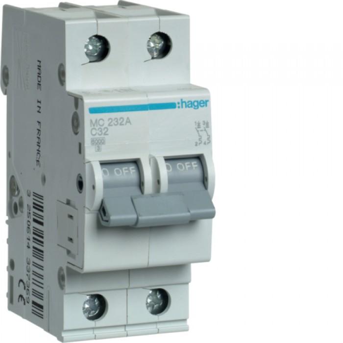 Автоматичний вимикач HAGER 2Р 32 А тип С (MC232A)