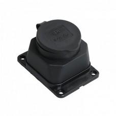 Розетка з з / к захисною кришкою настінна РБ13-1-Ом 16А 2P + PE чорна каучук IEK (PKR11-016-2-K02)