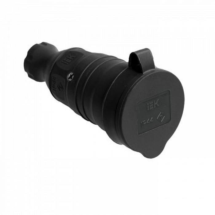 Розетка з з / к захисною кришкою переносна РБп13-1-Ом 16А 2P + PE чорна каучук IP44 IEK (PKR21-016-2-K02)